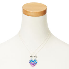 Metallic Glitter Chevron Heart Best Friend Necklaces,