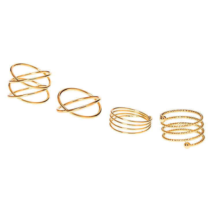 Gold Spiral Rings - 4 Pack,