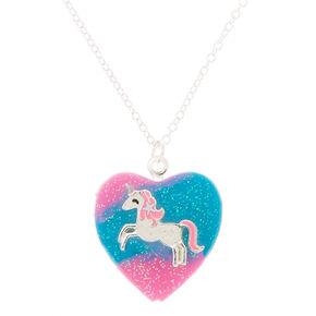 Collier à pendentif avec médaillon cœur et licorne aux tons pastel,