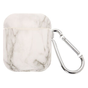 White Marble Silicone Earbud Case Cover - Compatible With Apple AirPods,