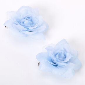 Mini Rose Hair Clips - Dusty Blue, 2 Pack,