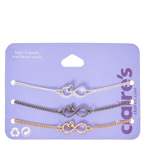 Mixed Metal Infinity Heart Chain Friendship Bracelets - 3 Pack,