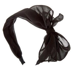 Chiffon Knotted Bow Headband - Black,