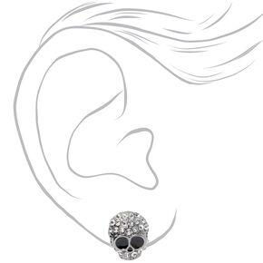 Clous d'oreilles crâne ornementé couleur argentée,