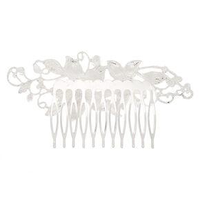 Silver Rhinestone Swirl Hair Comb,