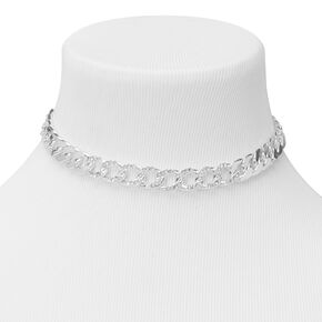 Silver Embellished Chain Link Choker Necklace,