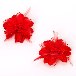 Lily Flower Hair Clips - Red, 2 Pack,