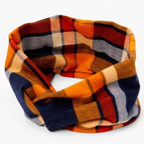 Orange, Navy & Red Plaid Twisted Headwrap,