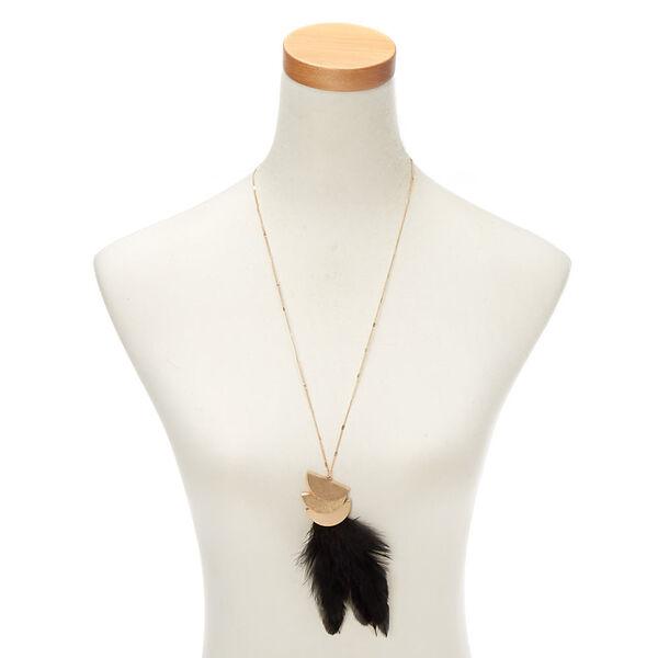 Claire's - gold feather long pendant necklace - 2