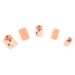 Dainty Floral Square Faux Nail Set - Pink, 24 Pack,