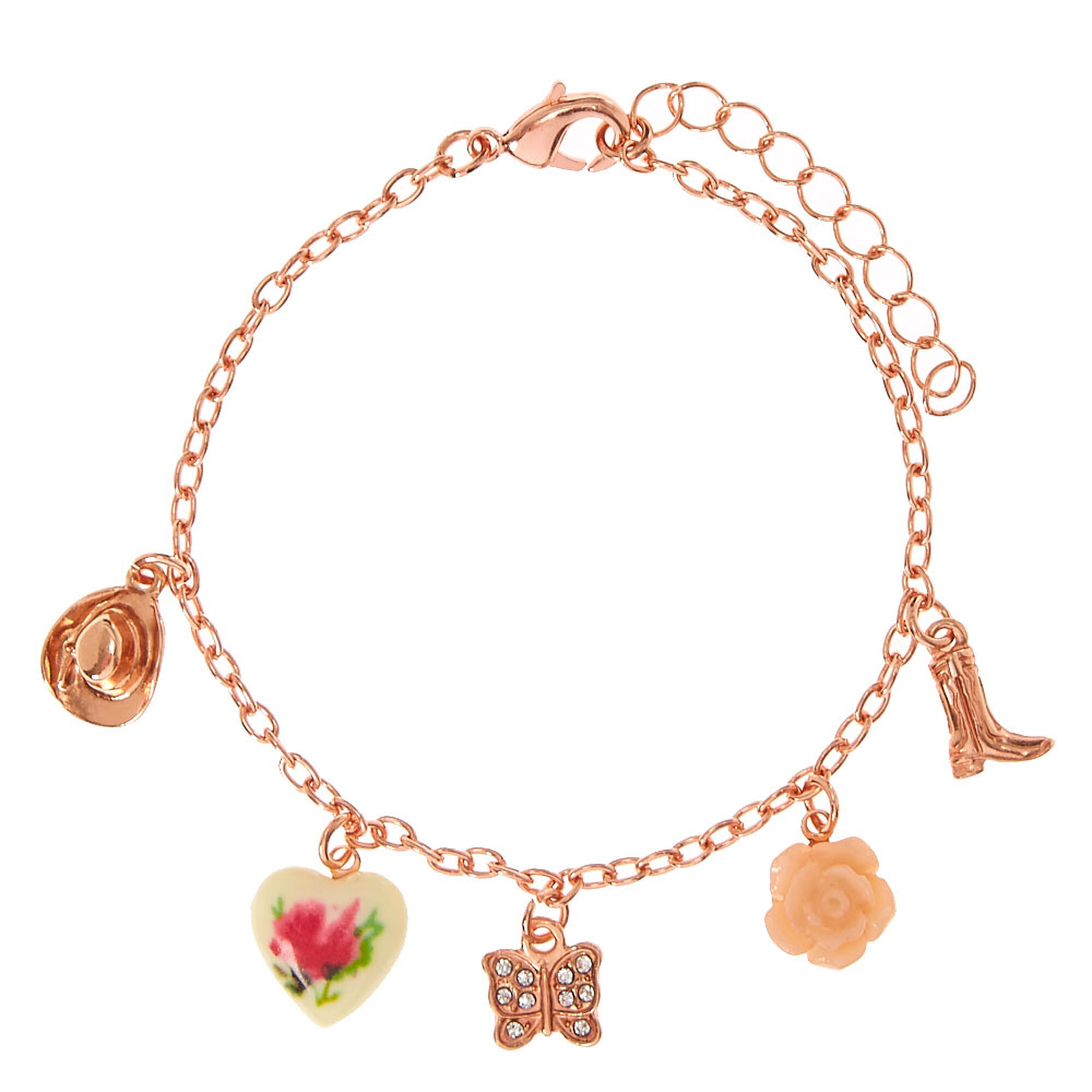 Rose Gold tone Country Rose Charm Bracelet
