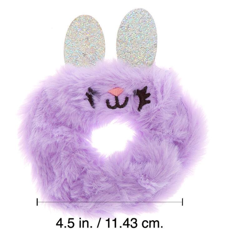 Medium Bella the Bunny Faux Fur Hair Scrunchie - Purple,