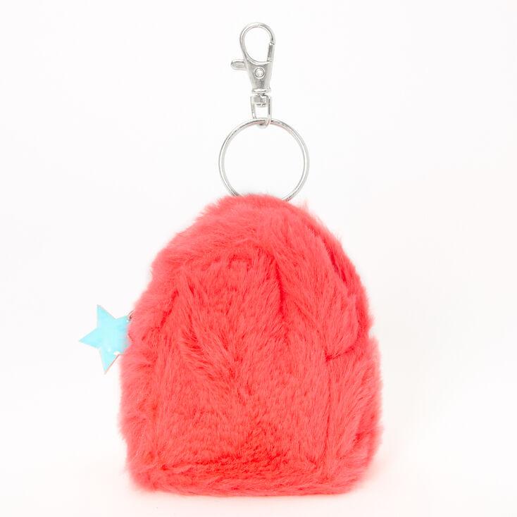 Neon Star Mini Furry Backpack Keychain - Coral,
