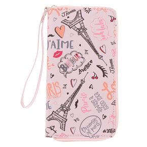 20d43f60ac Paris Love Wristlet - Pink
