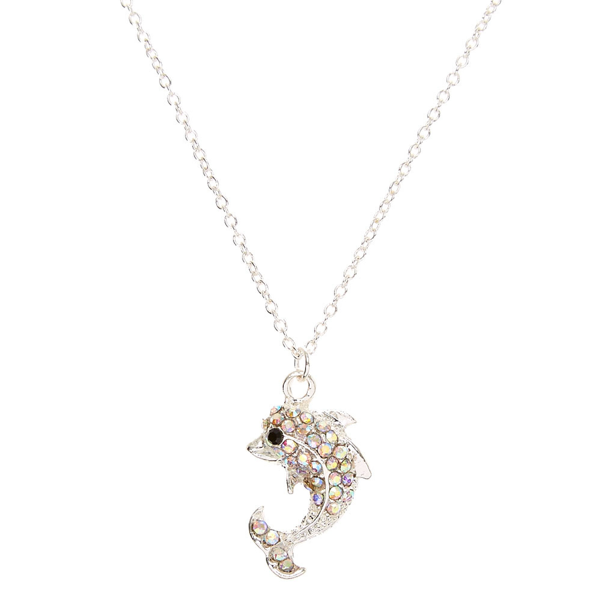 box pendant chain silver cz simulated with dp necklace company amazon opal sterling blue dolphin heart jewelry honolulu com and