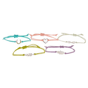 Silver Symbol Adjustable Friendship Bracelets - 5 Pack,