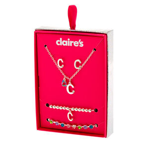 Silver Rainbow Initial Jewellery Gift Set - C, 4 Pack,