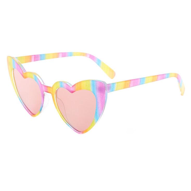 Rainbow Striped Heart Wing Sunglasses,