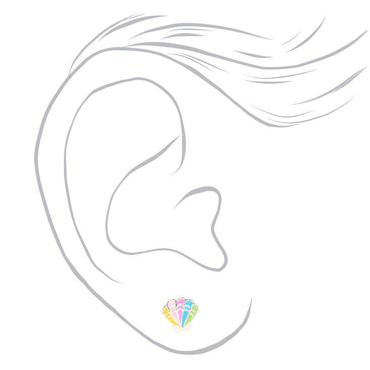 Clous d'oreilles perle d'imitation et coquillage couleur argentée - Lot de 2,