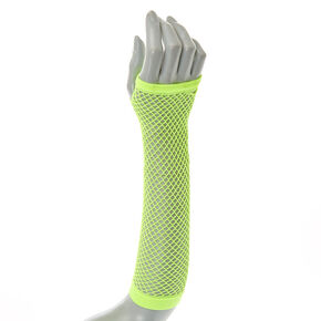 Neon Yellow Fishnet Arm Warmers,