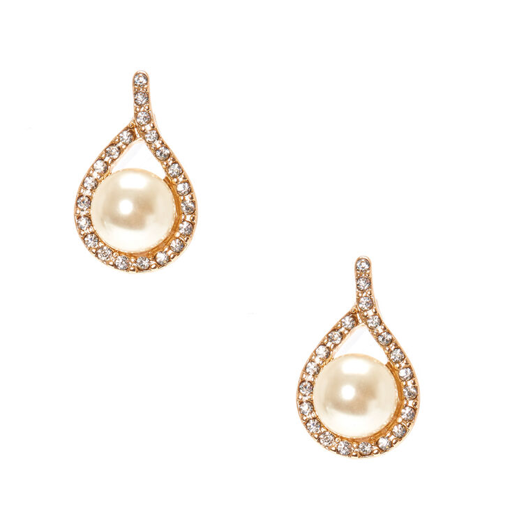 Ivory Faux Pearl Gold Tone Teardrop Framed Stud Earrings Claire S