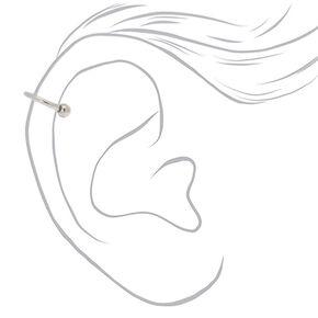 Silver Titanium 16G Horseshoe Crystal Cartilage Hoop Earring,