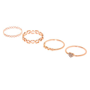 Rose Gold Romance Rings - 4 Pack,