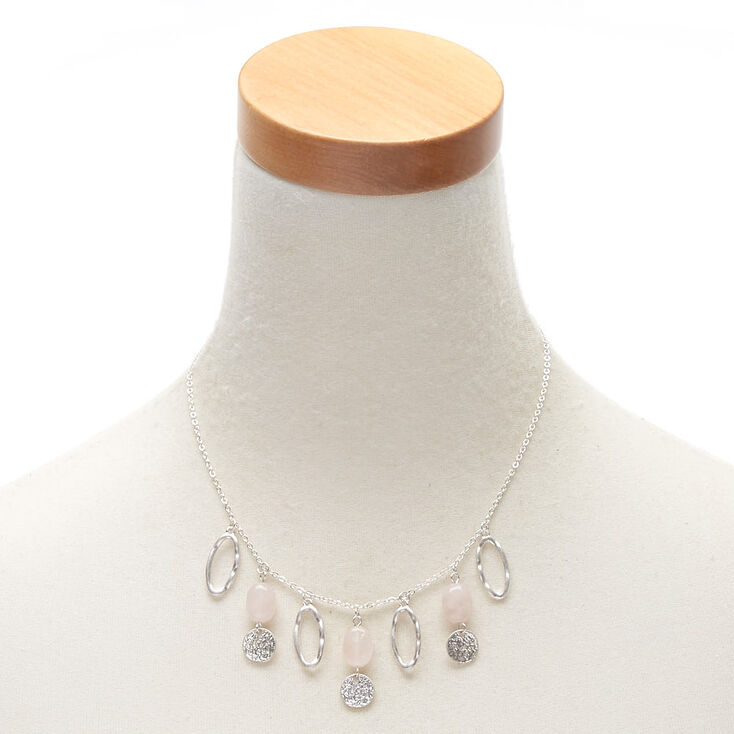 Silver Hammered Stone Statement Necklace - Pink,