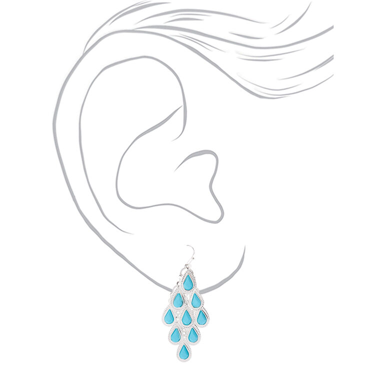 """Silver 2"""" Chandelier Stone Drop Earrings - Turquoise,"""