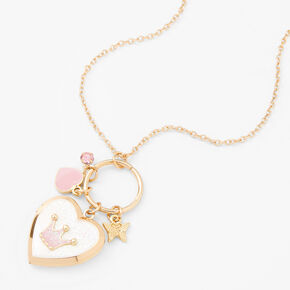 Princess Crown Locket Pendant Necklace,