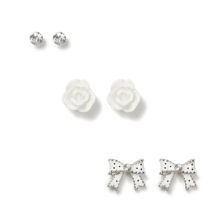 Y Clic Stud Earrings White 3 Pack