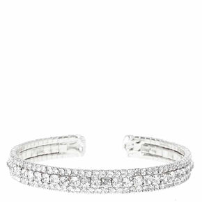 Go to Product: Silver Rhinestone Layered Cuff Bracelet from Claires