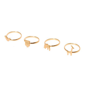 Gold Tone Zoo Animals Rings - 4 Pack,