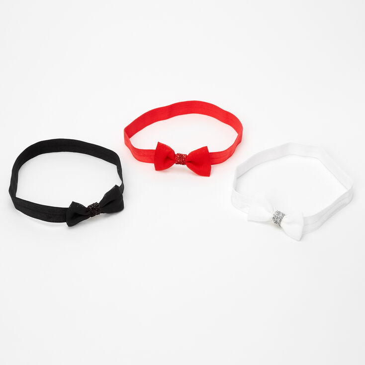 Claire's Club Glitter Bow Headwraps - 3 Pack,