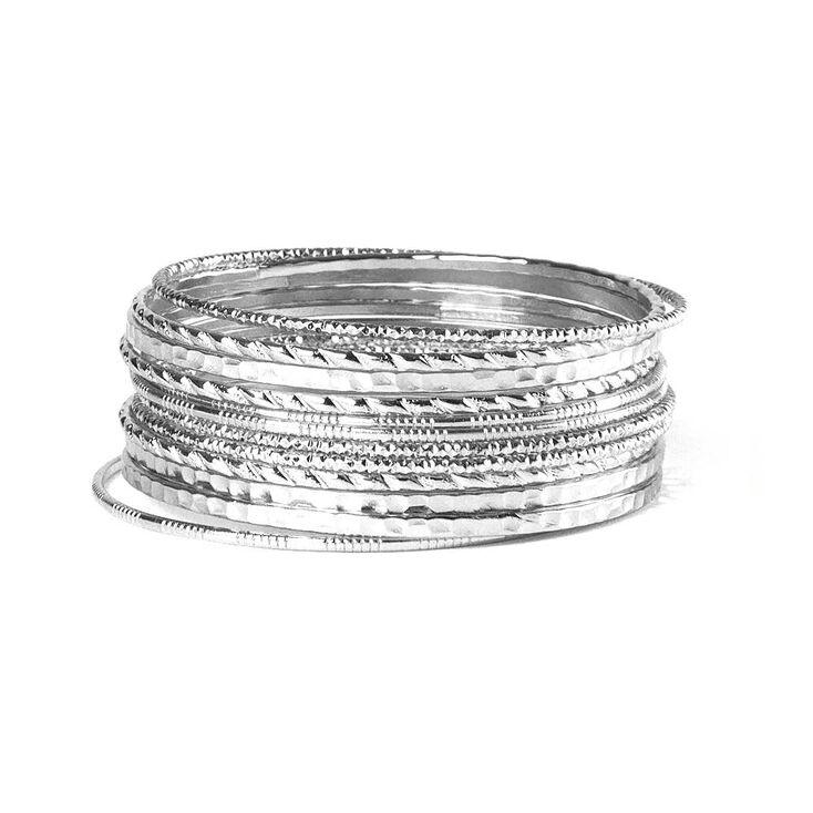 Silver Textured Bangle Bracelets,
