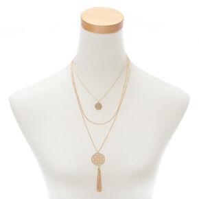 Gold Filigree Medallion Multi Strand Necklace,