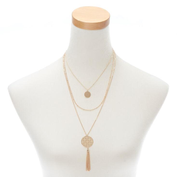 Collier multi-rangs à médaillon à motif en filigrane couleur doré,