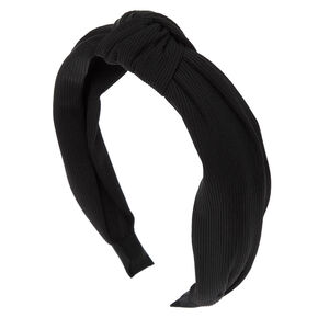 Ribbed Knotted Headband - Black,