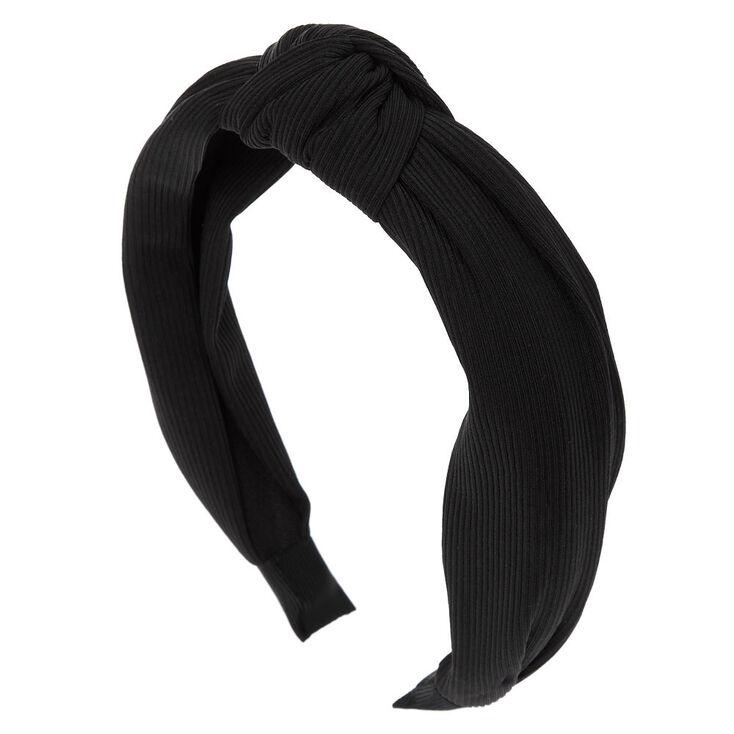 Ribbed Knotted Headband - Black,