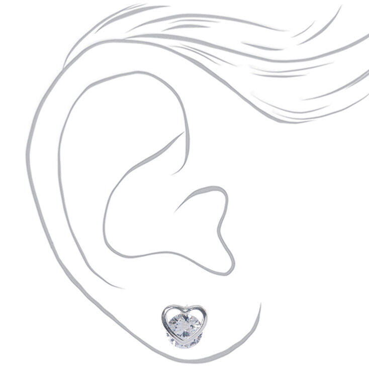 Silver Cubic Zirconia 8MM Round Heart Stud Earrings,