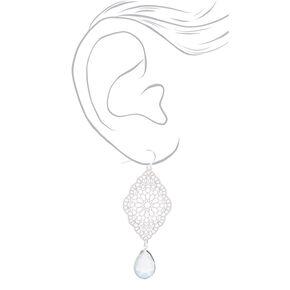 """Silver 2.5"""" Filigree Stone Drop Earrings - Mint,"""