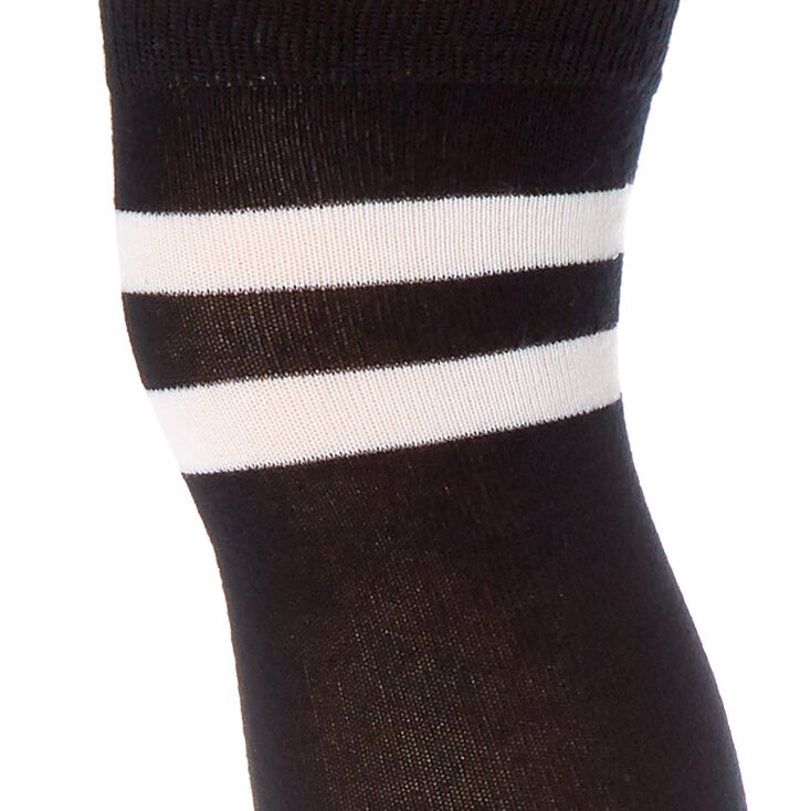 Over The Knee Striped Socks - Black,