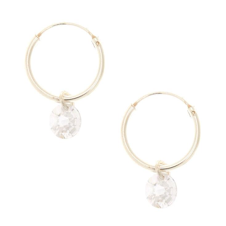 12mm Sterling Silver Cubic Zirconia Hoop Earrings