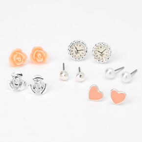Silver Rose Pearl Stud Earrings - Pink, 6 Pack,