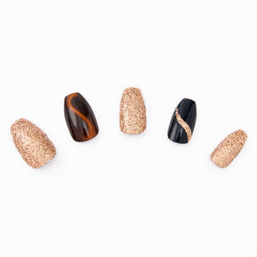 3D Cat Eye Stiletto Faux Nail Set - Gold, 24 Pack,
