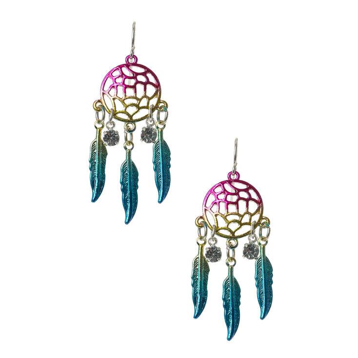 Rainbow Dreamcatcher Drop Earrings,