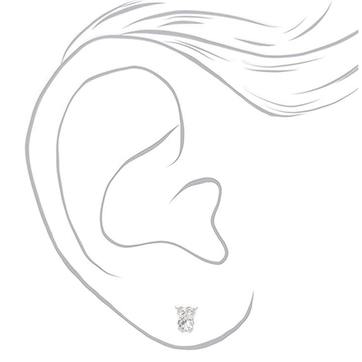 Clous d'oreilles hibou avec strass en zircon cubique d'imitation couleur argentée - 5mm,