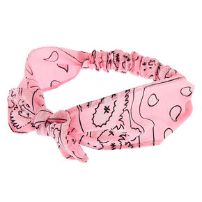 Claire's Club Bandana Knot Headwrap - Pink,