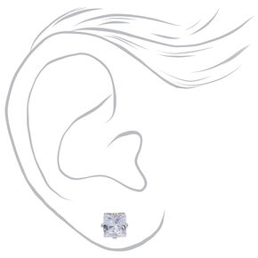 Silver Cubic Zirconia Square Stud Earrings - 3MM, 4MM, 5MM,