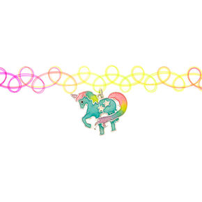 Rainbow Glow In The Dark Unicorn Tattoo Choker Necklace,